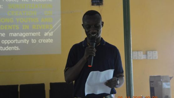 SPEECH PRESENTED TO STUDENTS OF BIRABII MEMORIAL GRAMMAR SCHOOL, BORI BY  Mr. COLLINS LEBETEH REPRESENTING THE EXECUTIVE DIRECTOR, SOCIETY FOR WOMEN AND YOUTH AFFAIRS, MRS STELLA AMANIE AT THE SENSITIZATION/AWARENESS CREATION PROGRAM ON HUMAN RIGHTS AMONGST YOUTHS AND HIGH SCHOOL STUDENTS IN RIVERS STATE ON THE 8TH NOVEMBER, 2019 WITH SUPPORT FROM DEVELOPMENT AND PEACE CANADA.