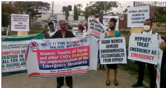 ELEME WOMEN AND YOUTH LEAD BY SOCIETY FOR WOMEN AND YOUTHS AFFAIRS WITH THE SUPPORT OF GLOBAL GREENGRANT FUND FOR THE IMPLEMENTATION OF EMERGENCY MEASURES RECCOMMENDED BY UNEP HELD ON THE 25TH JUNE 25, 2020 TOOK A PEACEFUL AND NONVIOLENCE PROTEST TO THE HYPREP OFFICE TO REGISTER THEIR DISPLEASURE OVER THE NONIMPLEMENTATION OF THE EMERGENCY MEARSURES OF THE UNEP REPORT.